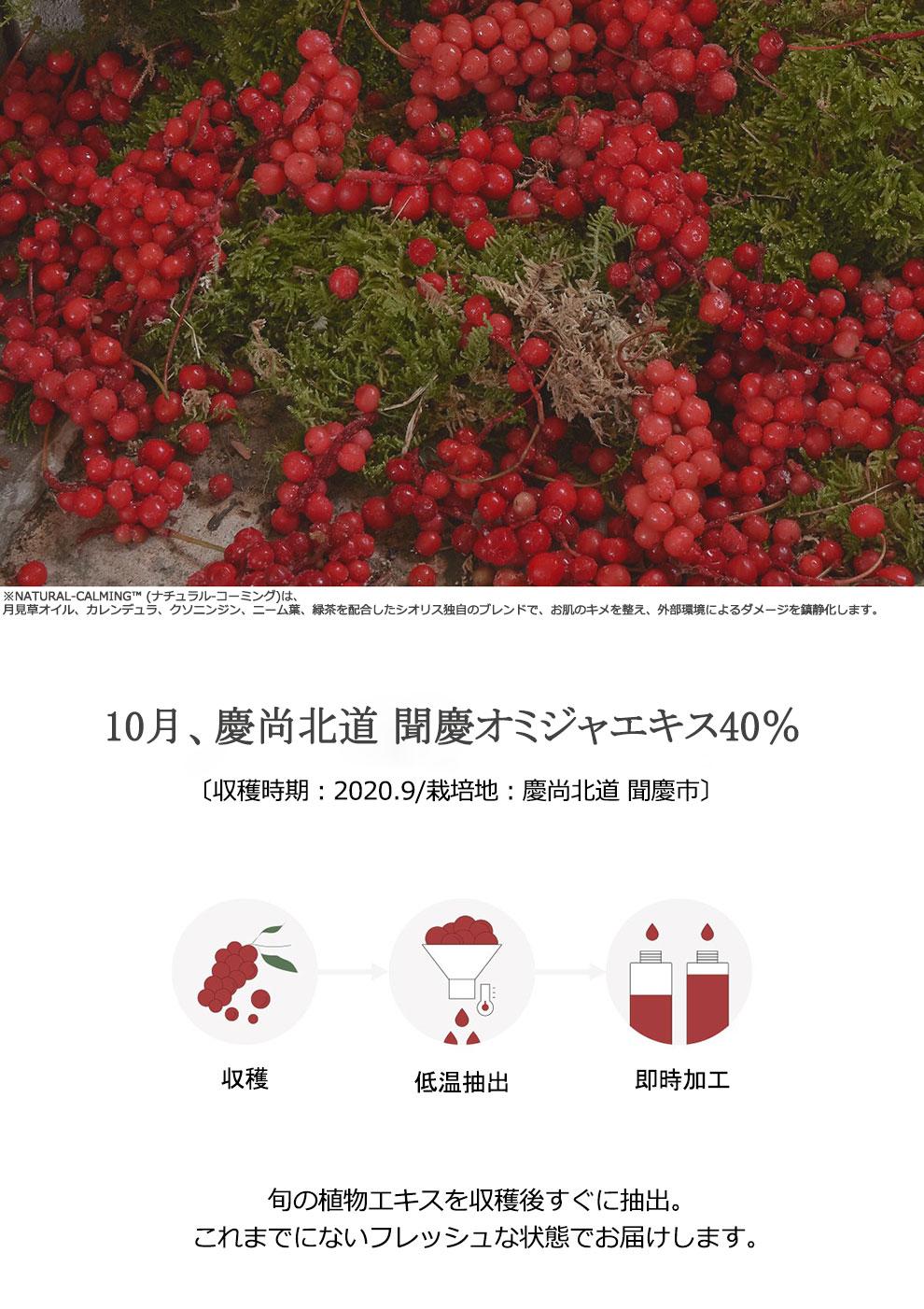 オミジャ果実とNATURAL-CALMING™※との配合バランスは、 お肌のゆらぎを安らぎへと導き、鮮紅な輝きを引き出します。