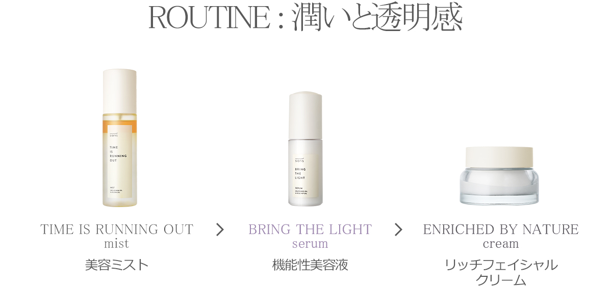 ROUTINE : 潤いと透明感 DAY BY DAY cleansing gel 洗顔 TIME IS RUNNING OUT mist 美容ミスト BRING THE LIGHT serum 機能性美容液 ENRICHED BY NATURE cream リッチフェイシャルクリーム