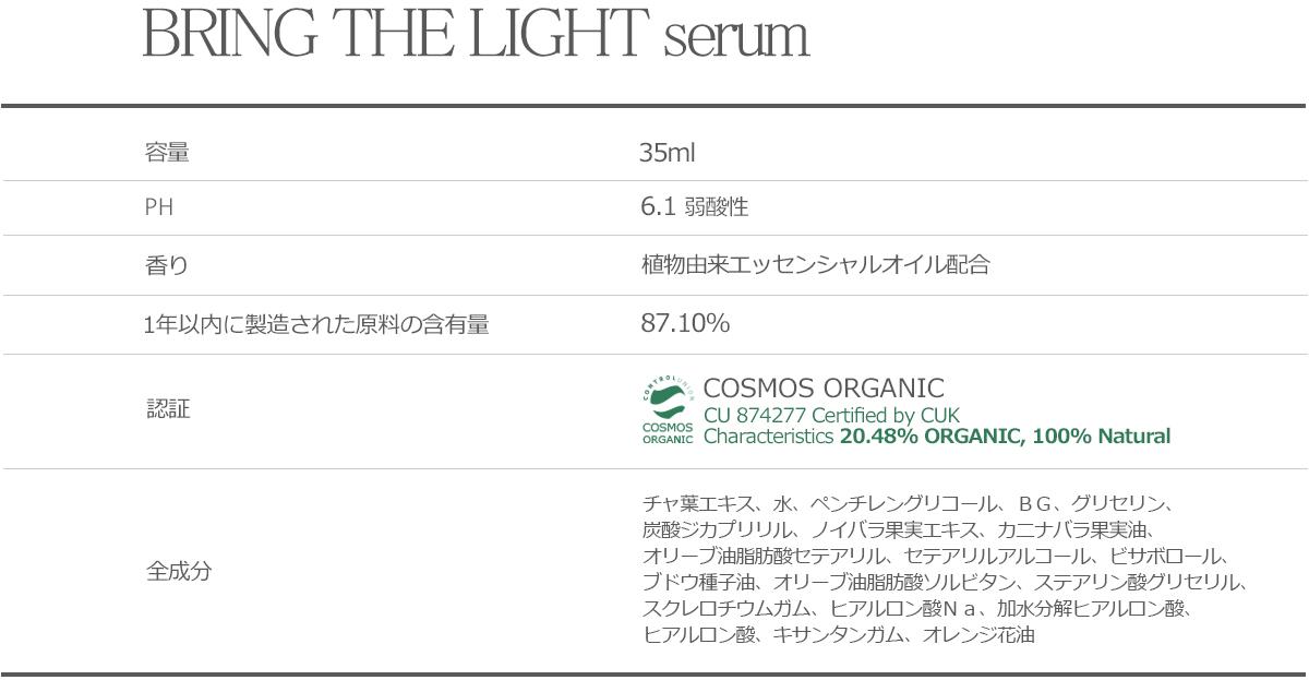 bring the light serum チャ葉エキス、水、ペンチレングリコール、BG、グリセリン、炭酸ジカプリリル、ノイバラ果実エキス、カニナバラ果実油、オリーブ油脂肪酸セテアリル、セテアリルアルコール、ビサボロール、ブドウ種子油、オリーブ油脂肪酸ソルビタン、ステアリン酸グリセリル、スクレロチウムガム、ヒアルロン酸Na、加水分解ヒアルロン酸、ヒアルロン酸、キサンタンガム、オレンジ花油